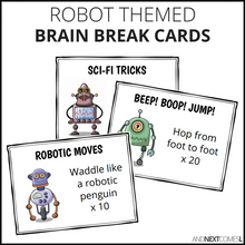 Load image into Gallery viewer, Robot Themed Brain Break Cards