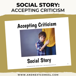 Accepting Criticism Social Story
