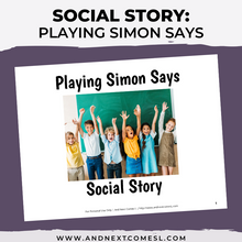 Load image into Gallery viewer, Playing Simon Says Social Story