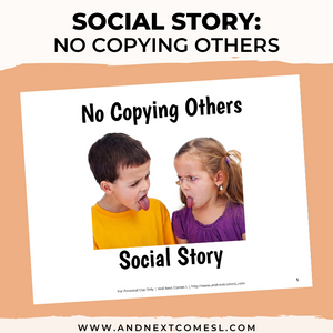 No Copying Others Social Story