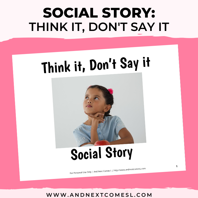 Think it, Don't Say it Social Story