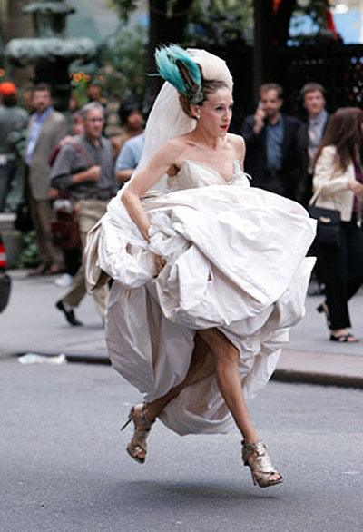 9a795e1a8e1f How can we forget the famous Carrie Bradshaw wedding dress and accompanying  head bird  But did you ever get a look at her shoes as she s running away