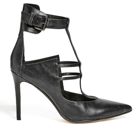 348d0b14cea Guess knows an embellished heel and they accomplish it perfectly with the  Rosaline pump. The chunky buckle ankle strap is shown off nicely in jet  black ...