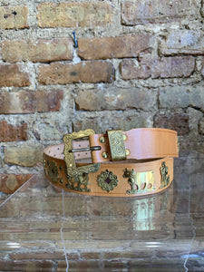 Ludwig Beck Leather Belt ‰ÛÒ Tan with Gold Metallic Shepards, Animals, Sun Relief Shapes