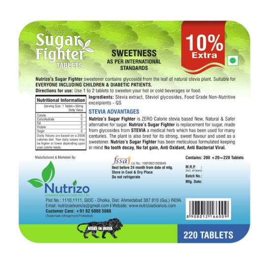 Stevia GOLD - Sugar Fighter Zero Calories & Fat Free Natural Stevia Sweetener