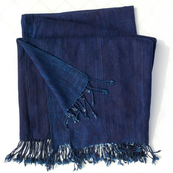 Vintage Indigo Throw Blanket From Mali Cinq Ella Lou