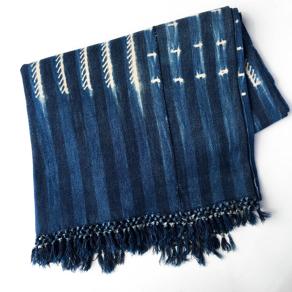 Vintage Indigo Throw Blanket From Mali Quatre Ella Lou