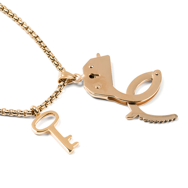 Freedom Fighter Handcuffs & Key Chain Necklace