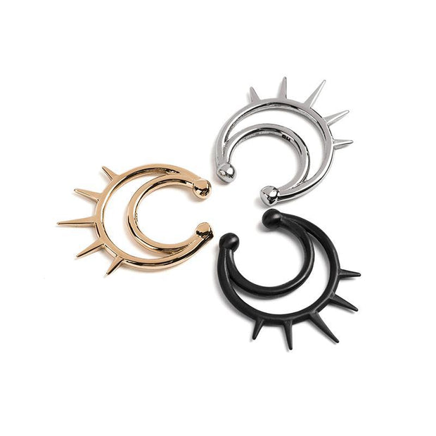 Black Heart Double Loop with Spikes Nose Ring