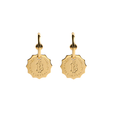 Dreamland Exchange Bank Coin Shape Half Ring Drop Earrings