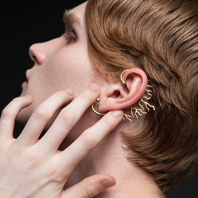 gold ear cuff men