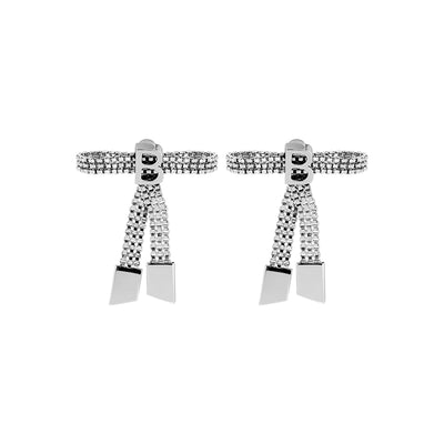 Teddy Girl Silver Bow Tie Earrings