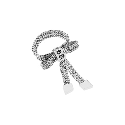 Teddy Girl Silver Bow Tie Ring