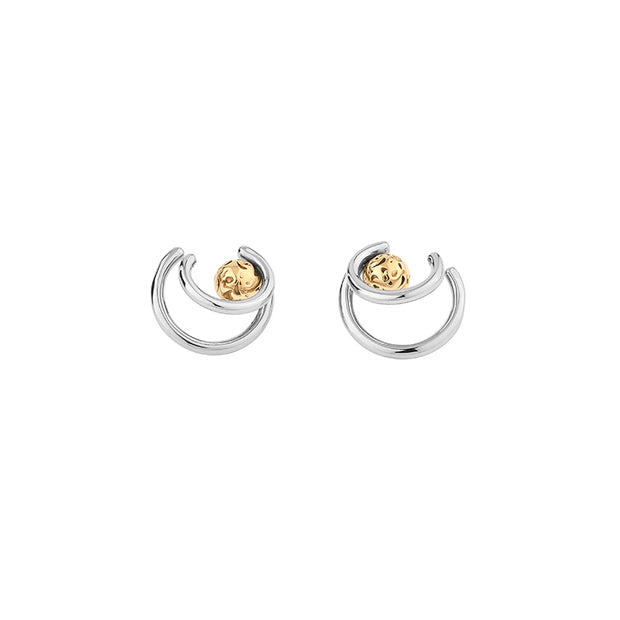 Georgium Sidus Bicolor Planet Path Shape Stud Earrings