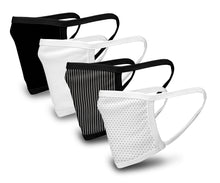 Load image into Gallery viewer, Black and White 4 Pack Face Mask - Reusable & Washable - Antimicrobial Finish - USA Made