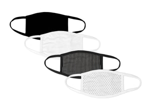 Black and White 4 Pack Face Mask - Reusable & Washable - Antimicrobial Finish - USA Made