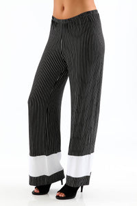 Contrast Pants Form Fitting Striped Pants