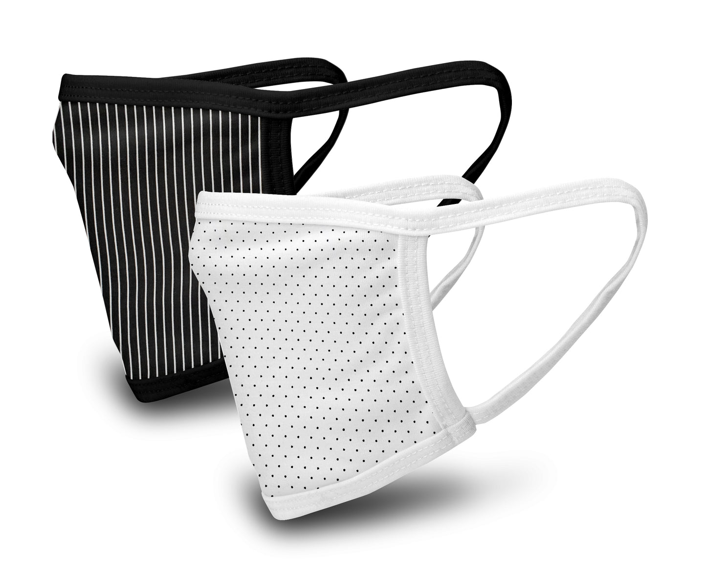 White and Black Print 2 Pack Face Mask - Reusable & Washable - Antimicrobial Finish - USA Made