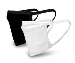 White and Black 2 Pack Face Mask - Reusable & Washable - Antimicrobial Finish - USA Made