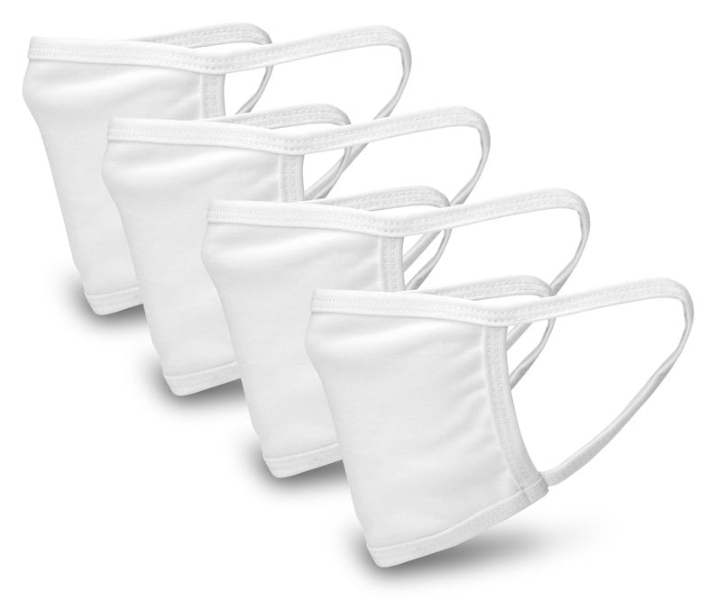 White 4 Pack Face Mask - Reusable & Washable - Antimicrobial Finish - USA Made
