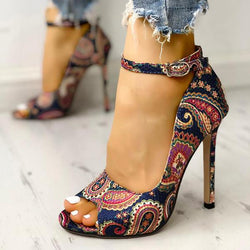 Sheinlove Ethnic Print Peep Toe Ankle Strap Thin Heeled Sandals