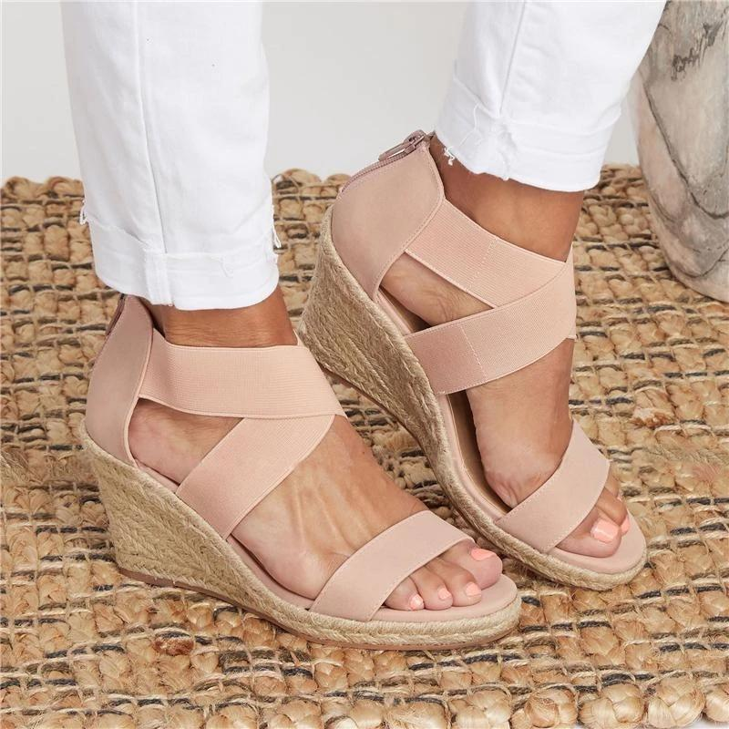 Summer Round Toe High Heel Wedge Casual Ladies Sandals