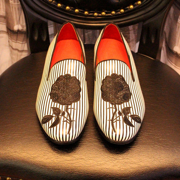 Black White Striped Handmade Loafers