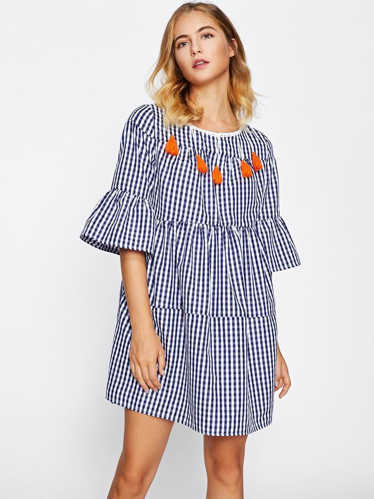 2018 New Tassel Tied Open Back Tiered Gingham Day Dress - Arceey