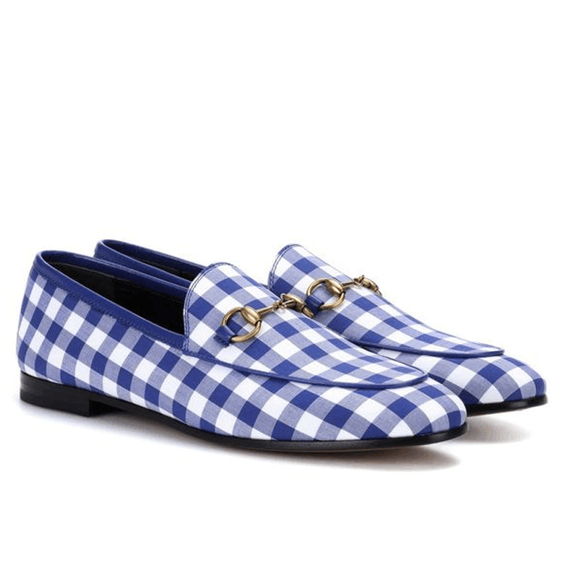 Men's Blue And White Checked Loafers