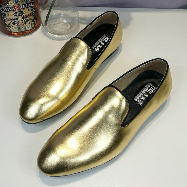 Men's Gold Flat Loafers