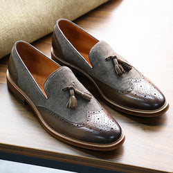 Brogue Fringed Leather Shoes