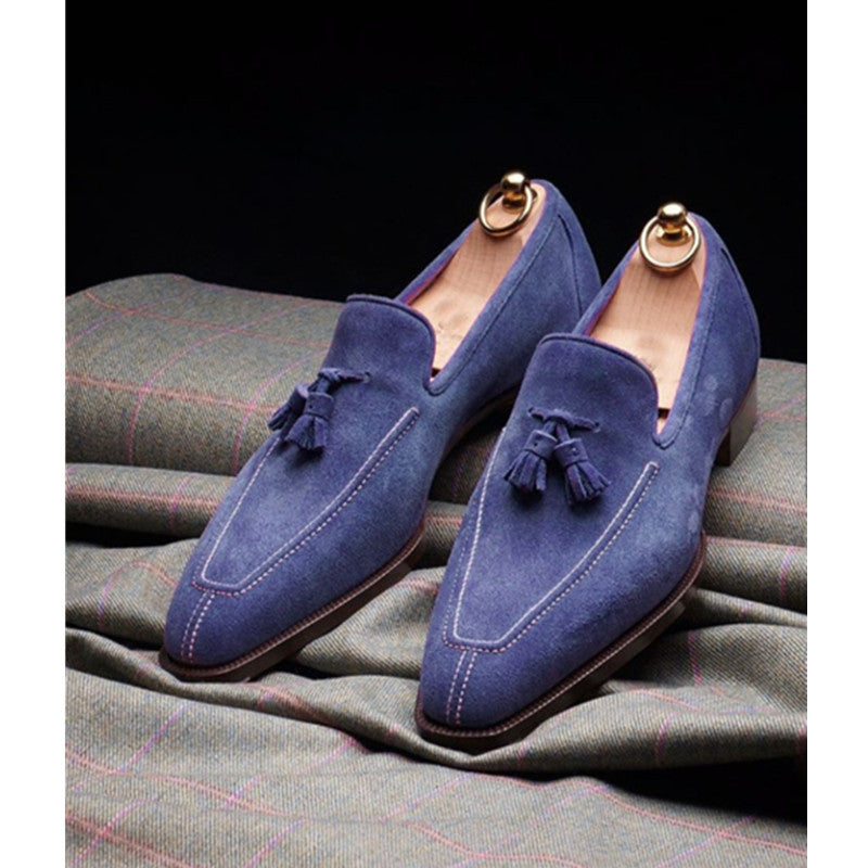 Men's fashion tassel frosted leather shoes