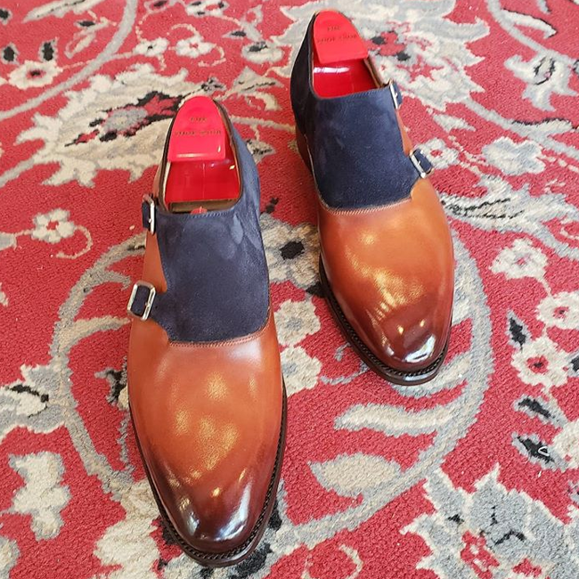 Handmade Double Tone Leather Dress Shoes For Men