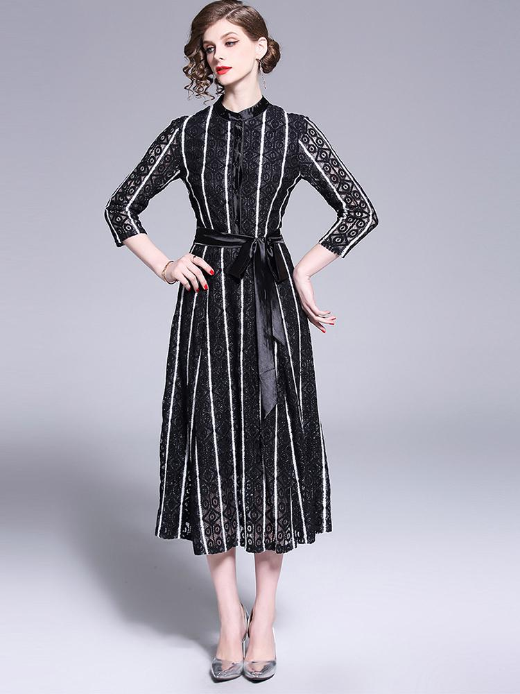 High Quality Vintage Chic Black Round neck Long Sleeve Lace Office Luxury Slim Evening dress - Arceey