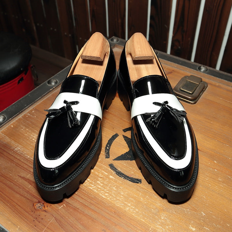 Black White Colorblock Tassel Leather Shoes
