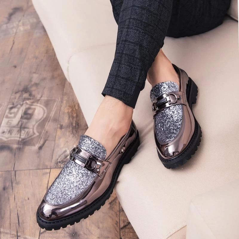 Black And Silver Shoes For Men