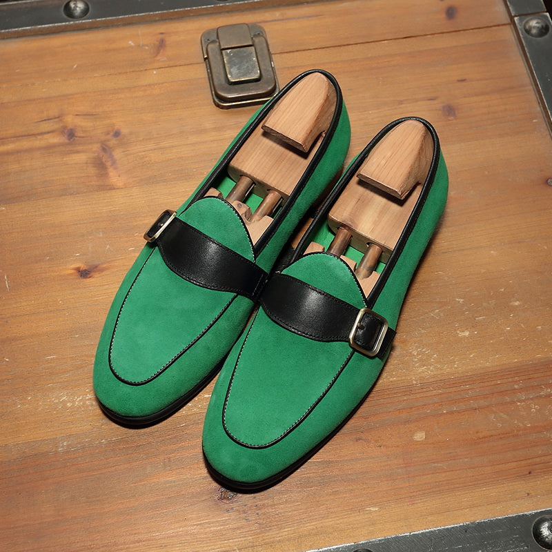 Matte Leather Buckle Loafers