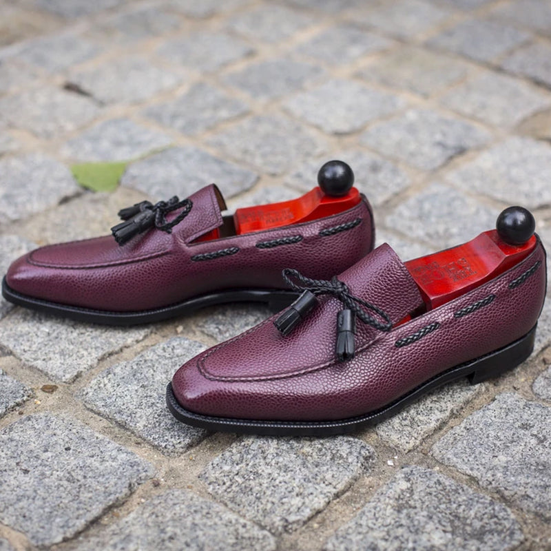 Burgundy Tassel Leather Shoes