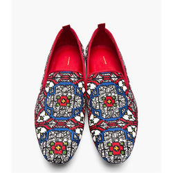 Men's fashion kaleidoscope contrast print loafer shoes