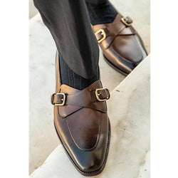 Men's retro comfortable metal button loafer leather shoes