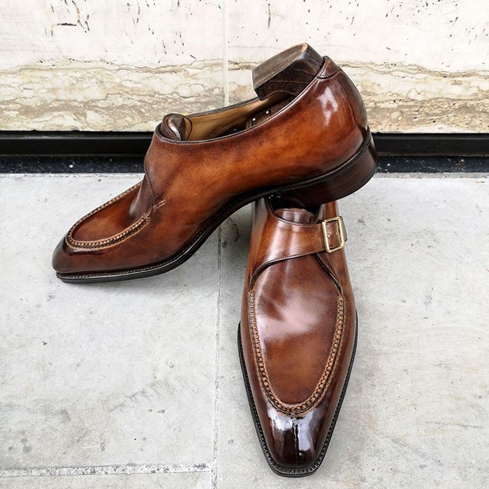 Brown Side Buckle Dress Shoes
