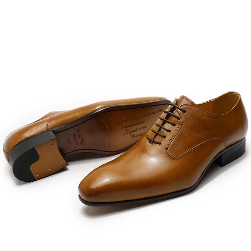LUXURY BRAND MEN GENUINE LEATHER SHOES HAND-POLISHED LACE UP