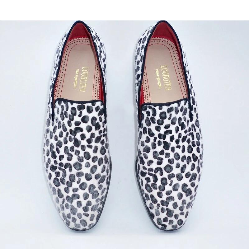 New Arrival White Horsehair Leopard Print Loafers