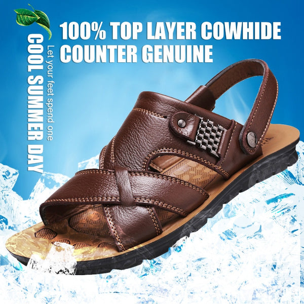 Men Genuine Leather Sandals Summer Footwear