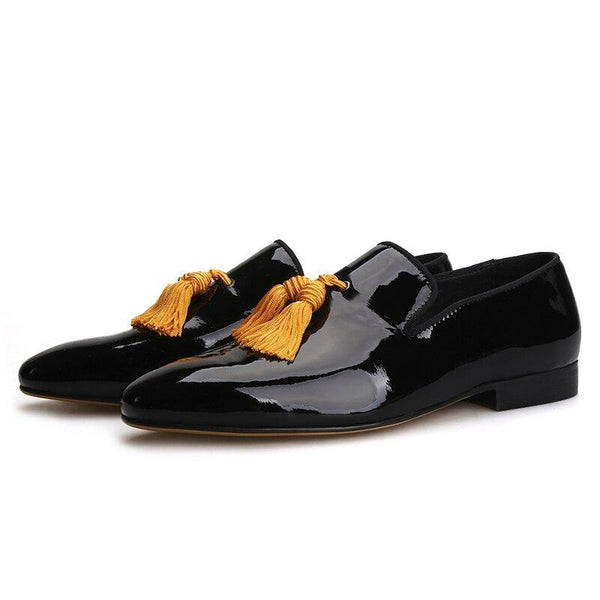 Patent Leather Yellow Tassel Loafers