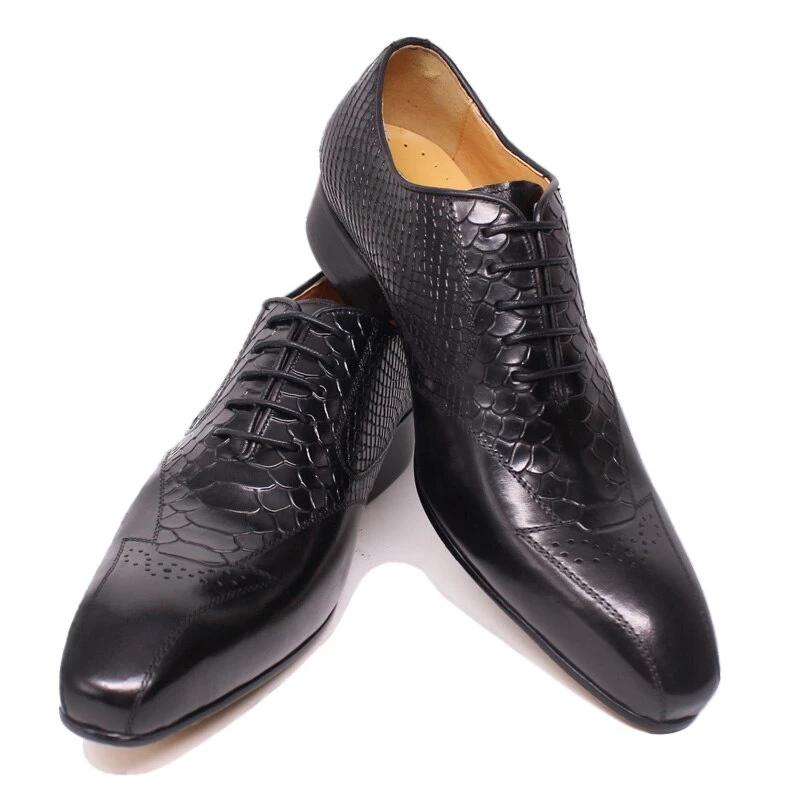 MEN LEATHER SHOES SNAKE SKIN PRINTS LUXURY