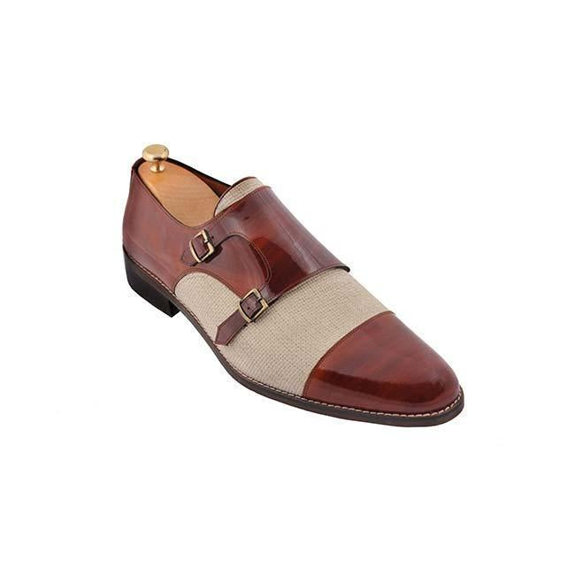 Patchwork Monk Strap Business Men Shoes