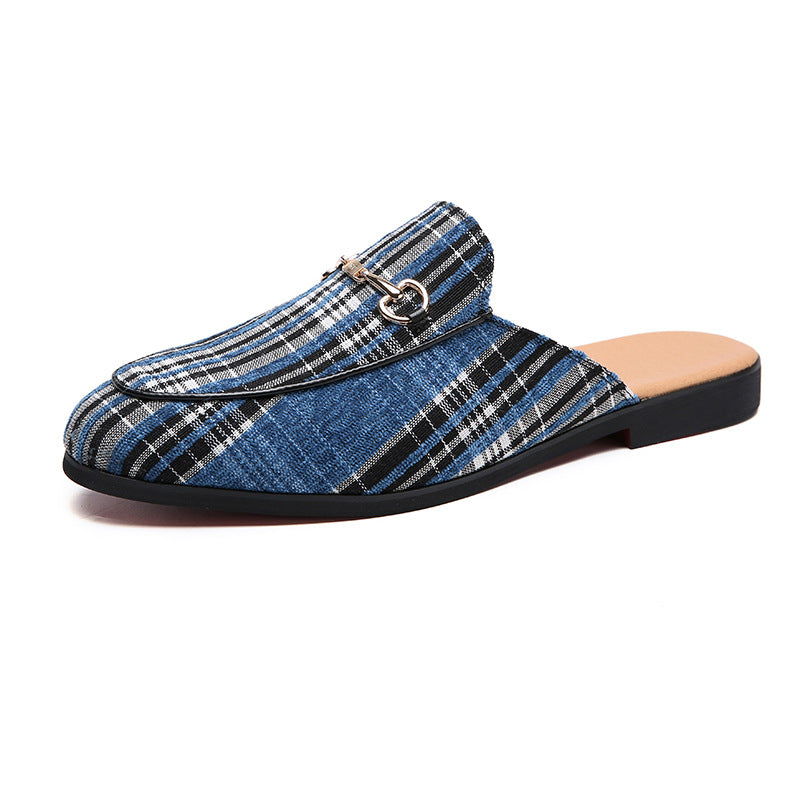 Fashion Buckle Plaid Slippers