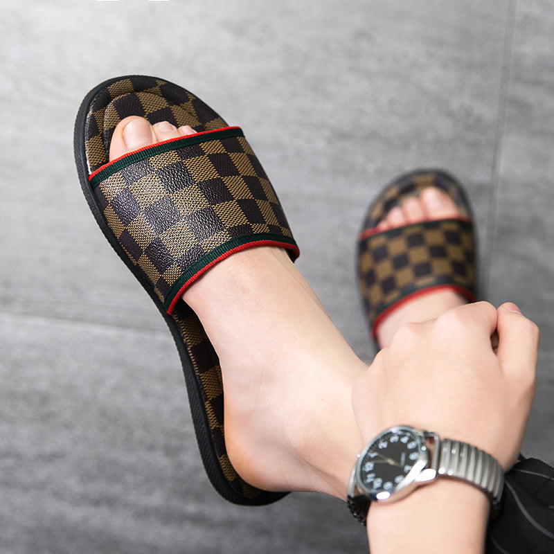 Square pattern Slippers flip flop Sandal