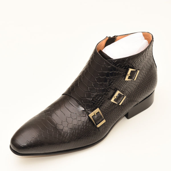 Men Buckle Strap Zip Ankle Boots